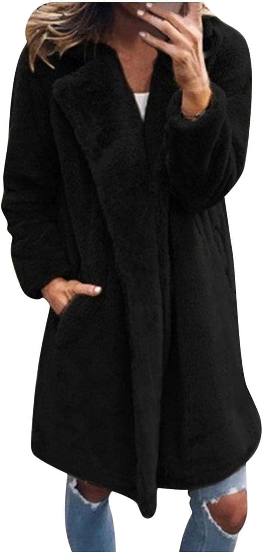 Women's Autumn Winter Faux Fur Fluffy Coat Fleece Open Front Cardigan Coat with Pockets