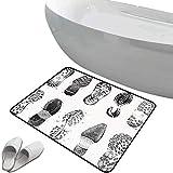 Alfombra de baño antideslizante de felpudo Decoración Grunge Alfombrilla goma antideslizante Conjunto de varias huellas de calzado Imagen de caminar artesanal turbia dañada por el pie humano,gris blan