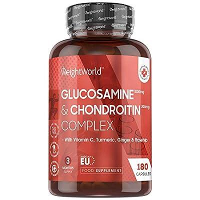 Glucosamin Chondroitin Komplex - 180 Kapseln - 1200mg mit nur 2 Kapseln täglich - Geprüfte Zutaten - Mit Vitamin C für Immunsystem, Knochen, Zähne & Haut - Ingwer, Hagebutten & Kurkuma - WeightWorld