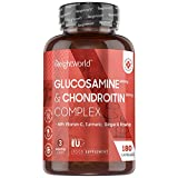 Glucosamine Chondroïtine Complex 1200 mg, 180 Gélules (3 mois), Pour Os, Articulations, Mobilité, Collagène, Avec Sulphate 2KCL, Vitamine C, Curcuma, Gingembre et Rose Musquée Femme Homme