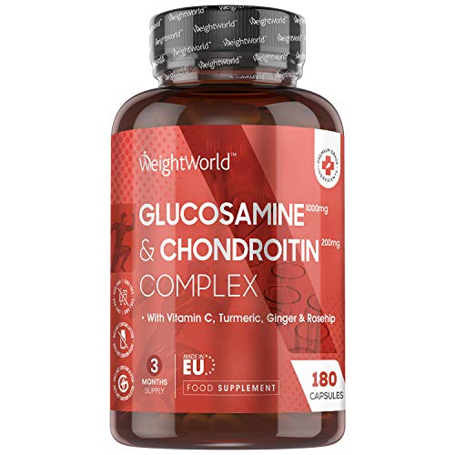 Glucosamine Sulphate 2KCL Complex with Chondroitin - 1200mg - 180 Capsules (3 Month Supply) - High Strength Glucosamine and Chondroitin with Vitamin C & Turmeric Capsules for Bones & Joints - EU Made