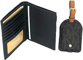 Michael Kors Leather Passport Case & Luggage Tag Set, Brown