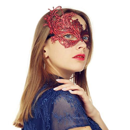 Masquerade Mask for Women Luxury Venetian Mask Women's Lace Eye Mask For Masquerade Party Prom Ball Bar Costume Festival Carnival Mardi Gras (Phoenix Red)