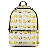 Hynes Eagle Cute Face Pattern Printed Backpack (White)