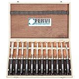 Serie da 12 sgorbie professionali per intarsio fornite in cofanetto di legno. Lunghezza 215 mm, durezza 58 - 60 HRC, materiale C50. Manico in legno.