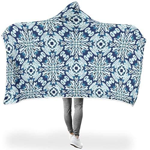 Toomjie Boho Indigo Tie Dye Blumen ThemeHome Hooded Throw Wrap Hypoallergen weich sanft Schlafdecke Wohndecke Computer Badetuch Für Kinder White #60 * 40#