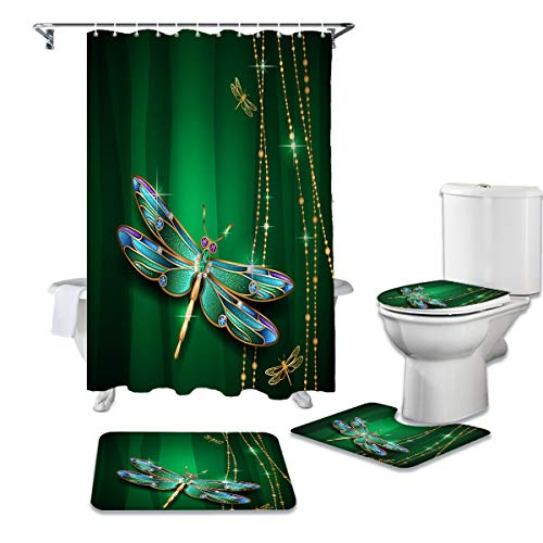 Cloud Dream Home 4 Pcs Shower Cuatain Sets with Non-Slip Rug Dragonfly Green Toilet Lid Cover Bath Mat Insect 72 x 72 inch Shower Curtain with Hooks for Bathroom -Large