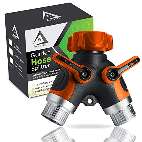 DBR Tech 2 Way Garden Hose Splitter for Outdoor Lawn and Gardening Hoses, Heavy Duty Metal Faucet Attachment, Leak Resistant Threading with Shut Off Valves, Two Way Spigot Adapter, Orange