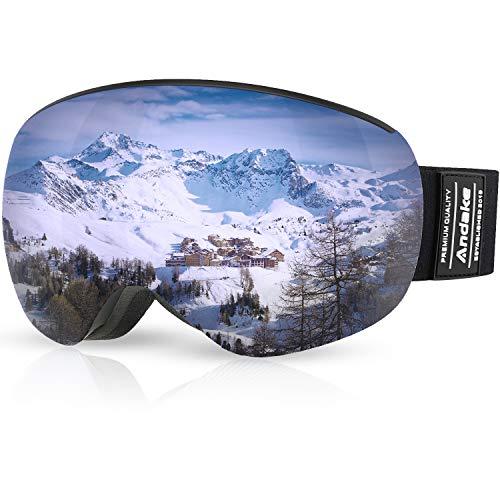 Andake Skibrille Goggle Snowboardbrille Brillenträger | Anti-Fog Anti-Kratzen/Beschlag UV400-Schutz | verspiegelte sphärische Linse Schwarz Herren Damen Doppelte Linsen-Grau/Full Silber VLT-8.5%