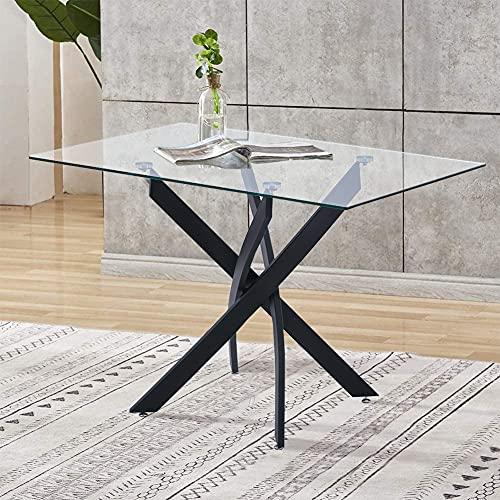 GOLDFAN Tavolo da Pranzo Classico in Vetro Temperato Tavolo da Pranzo con Gambe Cromate Tavolo da Cucina Moderno per Sala da Pranzo (110 x 70 x 75 cm)