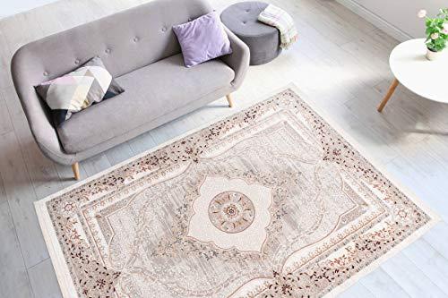 One Couture Teppich Klassisch Orientalisch Fransen Wohnzimmer Medaillon Teppiche Creme Beige Wohnzimmerteppich Esszimmerteppich Teppichläufer Flur-Läufer, Größe:160cm x 230cm