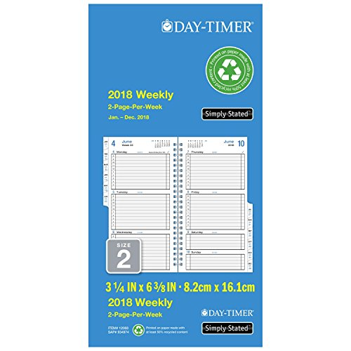 """Day-Timer Refill 2018, Two Page Per Week, January 2018 - December 2018, 3-1/2"""" x 6-1/2"""", Wirebound, Pocket Size, Simply Stated (12068-1801)"""