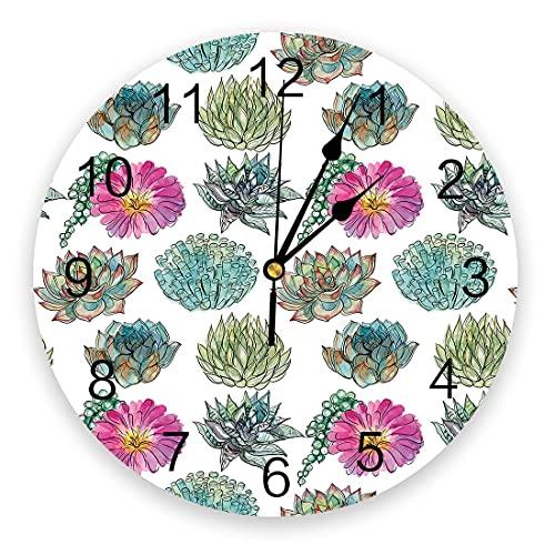 GAVA Dormitorio relojes de pared planta acuarela suculenta 3D reloj de pared diseño moderno breve decoración de la sala de estar reloj de pared arte decoración del hogar