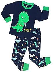 4. shelry Boys Toddler Dinosaur Cotton Pajamas