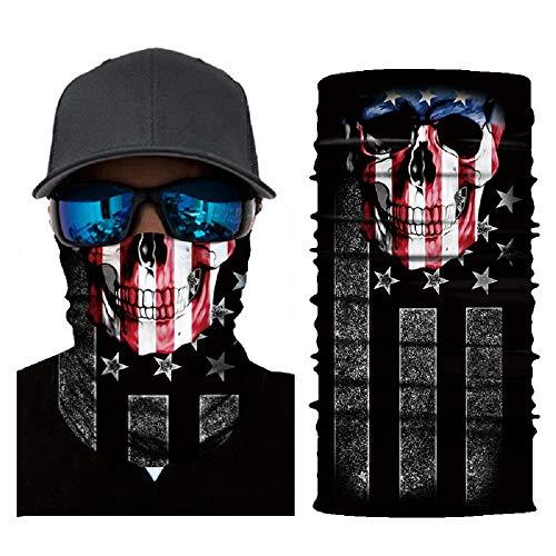 jiazery QZ Unisex Multi Functional 50+ UV Protection Face Mask Skull 3D Printed Balaclava Headwear(American Skull)