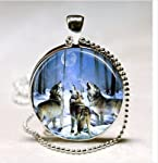 Wolf Necklace Howling Wolves Animal Jewelry Full Moon Art Pendant with Ball