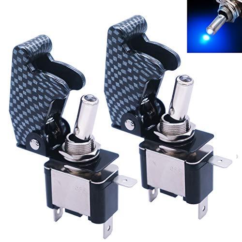 mxuteuk 2 unids 12 V 20 A luz LED azul resistente Rocker interruptor de palanca con fibra de carbono cubierta impermeable SPST ON/OFF 3Pin para coche camión barco ASW-07D-BU-GYMZ