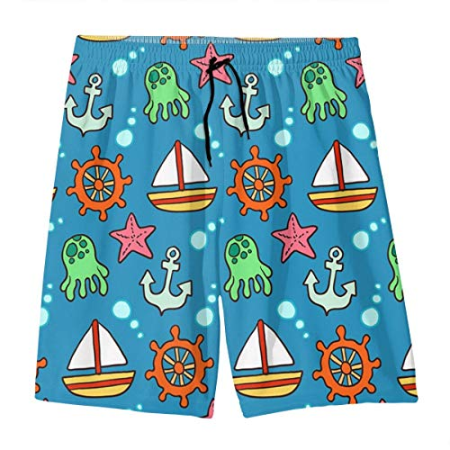 Jungen Beachwear Beach Shorts Hose, Cartoon Segel-Element bedruckte Boardshorts für 7–20 Teenager Gr. S, weiß