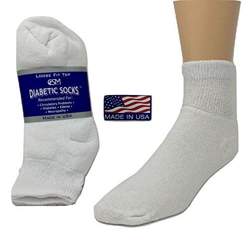 Diabetic Socks, Creswell Diabetic Socks, 12 Pack (1 Dozen Pairs), For Men and Women, Medical Socks for Neuropathy, Edema, Diabetes, Non-binding, Full Cushion, Low Cut Length, Size 13-15 X-Large, White