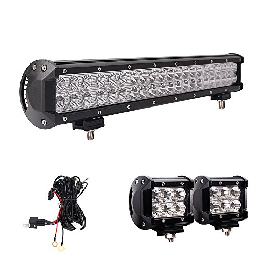 Northpole Light 20 Inch 126W Waterproof Spot Flood Combo LED Light Bar with 2PCS 18W CREE Flood LED Work Lights and 12V 40A Wiring Harness for Off Road, Truck, Car, ATV, SUV, Jeeps
