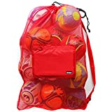 Extra Large Heavy Duty Mesh Bag for Soccer Ball, Water Sports, Beach Cloth, Swimming Gears. Adjustable...