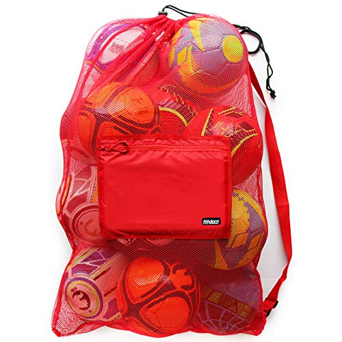 Extra Large Heavy Duty Mesh Bag for Soccer Ball, Water Sports, Beach Cloth, Swimming Gears. Adjustable Shoulder Strap Made to Fit Adults and Kids. Secure Side Pocket for Your Personal Item (Red)