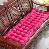 Cojín de banco, cojín acolchado para jardín, patio, silla, cojín grueso, cojín para sofá, cojín para tumbonas (rosa rojo, 170 x 48 cm)