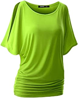 MK988 Women Crew Neck Summer Cold Shoulder Solid Cutout Shirt Dolman Sleeve T-Shirt Blouse Top