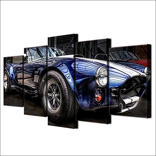 45Tdfc 200×100cmLienzo de Pintura 5 Piezas Coches clásicos Retro Azul 27 Faros Lienzo Pintura Pared Arte Imagen para Sala Moderna impresión Dormitorio