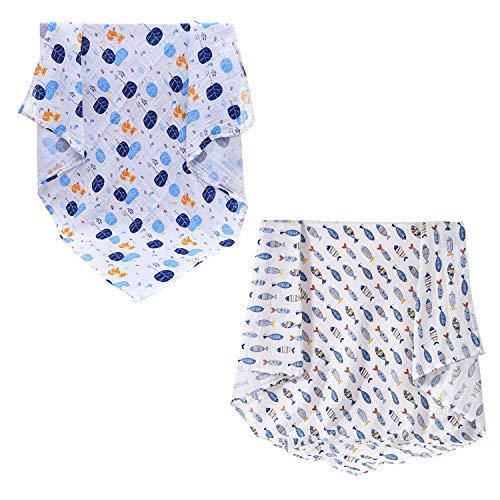 CHIC-CHIC Couvert Bébé Emmaillotage Double Baby Swaddle Wrap Motif Imprimé Deux Couches 120cm x 120cm Modèle C Taille Unique