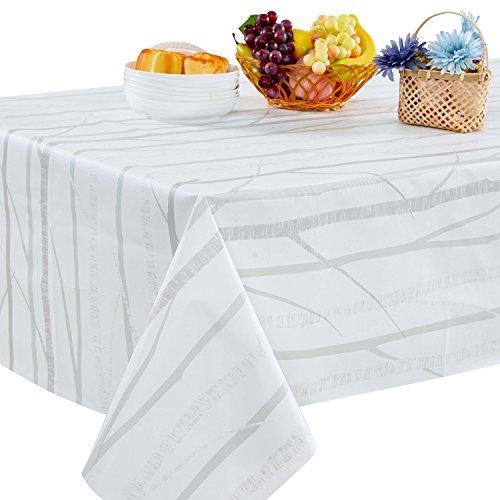 Topmail Tischdecke PVC Weiß Wassdicht Anti-Öl  Rechteckig  Wachstuchtischdecke  für das Hotel Restaurant Küche (140x220cm)