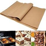 Generic Brands 100 Fogli Pergamena Carta da Forno Non Sbiancata da Carta Pretagliata Antiaderente Utilizzata per Il Rivestimento della Torta Barbecue