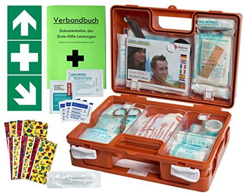 *Erste-Hilfe-Koffer KITA PLUS -Paket 1- DIN/EN 13157 für Betriebe + DIN/EN 13164 für KFZ – inkl. 1. Hilfe-Aufkleber*