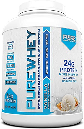 Pure Label Nutrition 100% USA Grass-Fed Whey Protein Concentrate, 5lb Vanilla, Non-GMO, rBGH Free, Soy Free, Gluten Free, Low Carbs and Low Fat, No Sugar Added, Keto Friendly