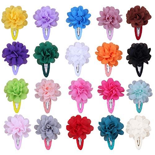 HQdeal Blumen Haarklammer, 20 Stück Chiffon Blume Haarspangen, Haar Barrettes Clip, Haarclips, Spangen, haarschmuck blumen für Babys,Mädchen, Frauen,Kinder