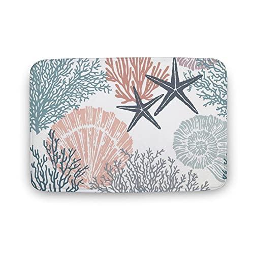 DKISEE Soft Non-Slip Door Mat Sea Shells Stars Mollusk Coral Bath Mat Coral Fleece Area Rug Floor Mat Indoor Outdoor Mat 16 X 24 Inch