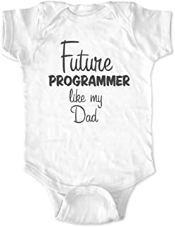 cute & funny Future Programmer Like My Dad Baby Bodysuit Shower Gift Surprise Pregnancy Announcement