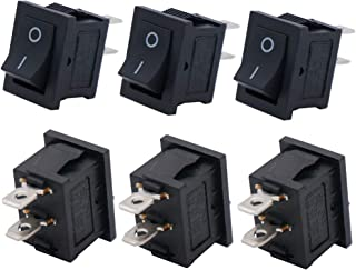 Twidec/6Pcs AC 6A/125V 10A/250V SPST 2 Pins 2 Position ON/Off Car Boat Black Rocker Switch Toggle(Quality Assurance for 1 Years)KCD1-1-101