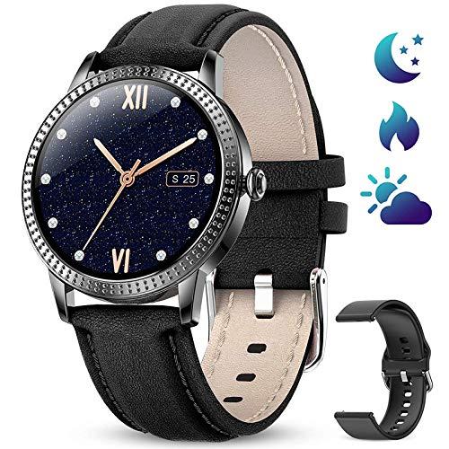 DOOK Smartwatch, Reloj Inteligente Impermeable IP67 para Hombre Mujer niños, Pulsera de Actividad Inteligente con Monitor de Sueño Contador de Caloría Pulsómetros Podómetro para Android iOS,Negro