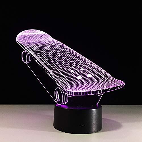 Lampe der Illusions-3D führte Nachtlicht, USB trieb 7 Farben an, die Noten-Schalter-Schlafzimmer-Dekorations-Beleuchtung für Kinderweihnachtsgeschenk blinken, skateboard
