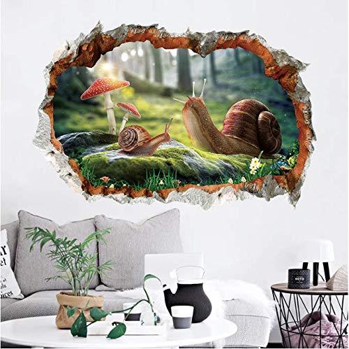 Wandaufkleber, gebrochene Schnecke, 3D, PVC, wasserdicht, für Zuhause, Wanddekoration, 60 x 45 cm