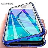Funda para Huawei P Smart Z, Adsorción Magnética Cubierta Vidrio Templado Frontal y Posterior Flip Case Marco Metal Bumper Funda Anti Choque Protección 360 Grados Carcasa, Azul