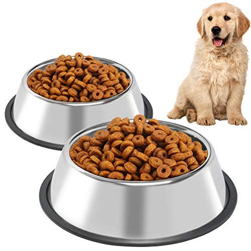TIMESETL 2Stück Hundenäpfe Mittelgroße Hundenapf aus Edelstahl, Rutschfeste Hundenäpfe/Futternapf und Wasserschalen für Hunde
