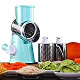 Multifunctional Vegetable and Fruit Cutting Machine, Rotating Drum Cheese Grater with 3 Stainless Steel Revolving Blades, Manual and Safe Milling, Slicer