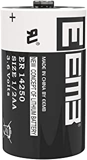 EEMB 1/2 AA 3.6 V Lithium Battery ER14250 1200 mAh High Capacity Li-SOCl2 3.6Volt Lithium Thionyl Chloride Batteries Non Rechargeable UL Certified