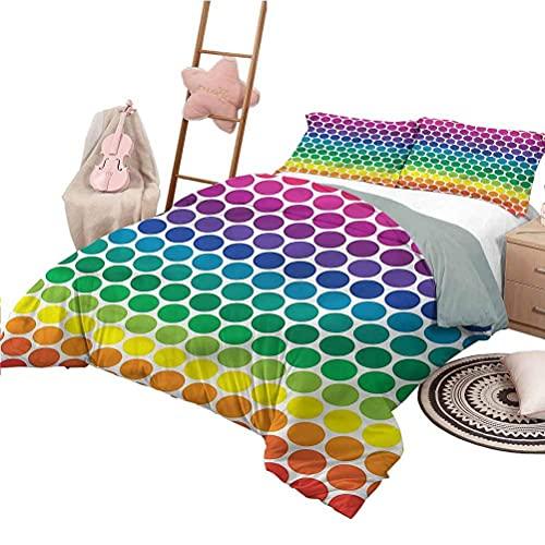 Drucken Bettbezug voller Größe Polka Dots Tagesdecken Tagesdecke Regenbogen farbige Big Dots