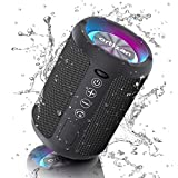 Ortizan Altavoz Bluetooth inalámbrico con luz LED, Mini Altavoces Portátil Rich Bass, Altavoz Bluetooth Exterior con Bluetooth 5.0 y micrófono Incorporado, 15H, Altavoces Impermeables IPX6