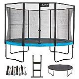 Kangui - Trampoline de Jardin Rond 430 cm + Filet de sécurité + échelle + bâche de Protection + kit d'ancrage