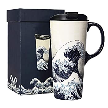 Ceramic Travel Mug Porcelain Coffee Cup with Spill-proof Lid and Box 17 Oz.