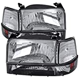 Carpartsinnovate For 92-96 F150 F250 F350 Bronco Factory Style Clear Headlights+Corner Bumper Lights